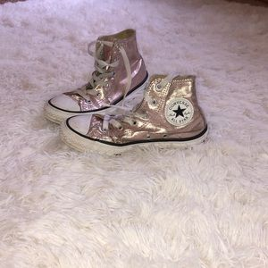 Girls pink/gold Chuck Taylor All Star shoes